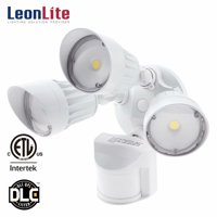 LEONLITE 30W 3-Head LED Security Lights, Outdoor Motion Sensor Security Lights, 3000K Warm White, White