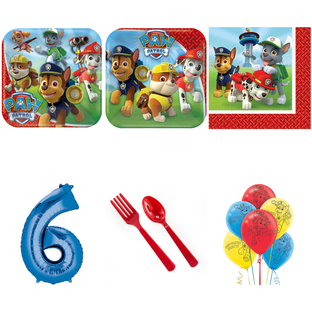 PAW PATROL PARTY SUPPLIES PARTY PACK FOR 32 WITH BLUE #6 BALLOON