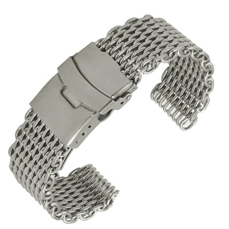 Stainless Steel Folding Clasp - 22mm Shark Mesh Stainless Steel Watch Band Strap Folding Clasp Watchband (Long Pattern Silver)