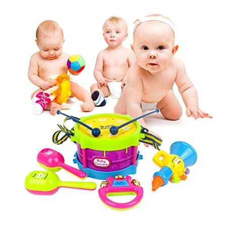 Baby Concert Toys 5PC New Roll Drum Musical Instruments Band Kit Unisex Colorful Educational Learning and Development Toys Gift for Toddler Infant Newborn Children Kids Boys - Toy For Toddlers