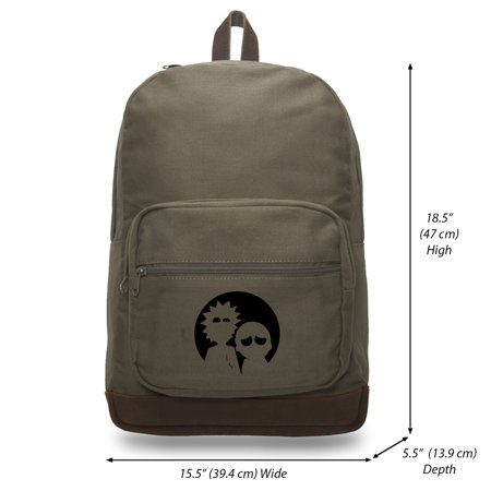 rick and morty moonlight canvas teardrop backpack with leather