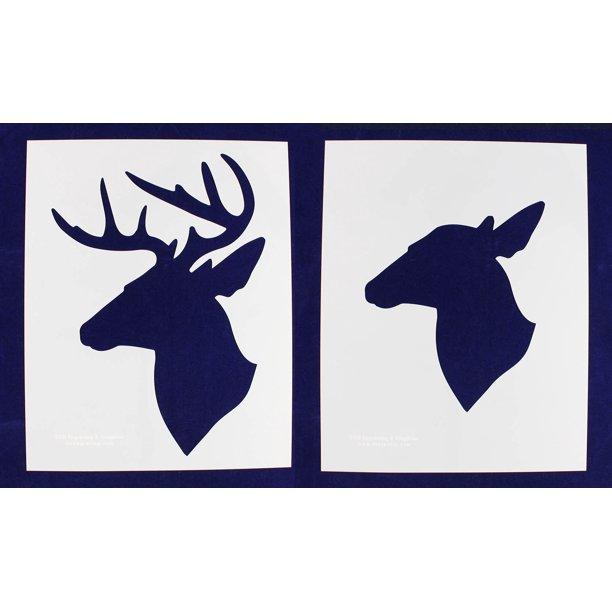 Buck And Doe Deer Head Stencils Side Facing Extra Large 2 Piece Set Walmart Com Walmart Com