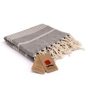 Bazaar Anatolia Slim Line Turkish Towel 100% Cotton Peshtemal Beach Towel 76x38 Thin Lightweight Travel Camping Bath Sauna Gym Pool Blanket Fouta Bridesmaid Gift Quick Dry Towels (Black) B