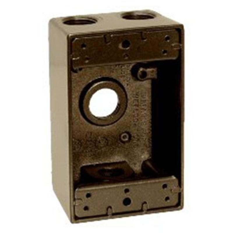"1/2"" 4 Hole 1-Gang Box, Bronze Sigma Electric Outlet Boxes 14251BR 031857342517"