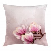 Magnolia Throw Pillow Cushion Cover, Fragile Petals of Magnolia Flower Bloom on Brush Stroked Background, Decorative Square Accent Pillow Case, 16 X 16 Inches, Pink Baby Pink and Brown, by Ambesonne
