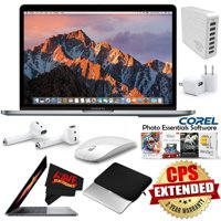 "Apple 13.3"" MacBook Pro (Mid 2017, Space Gray) MPXQ2LL/A + Padded Case For Macbook + MicroFiber Cloth + 7 Port USB Hub (White) + Apple AirPods Wireless Bluetooth Earphones Bundle"