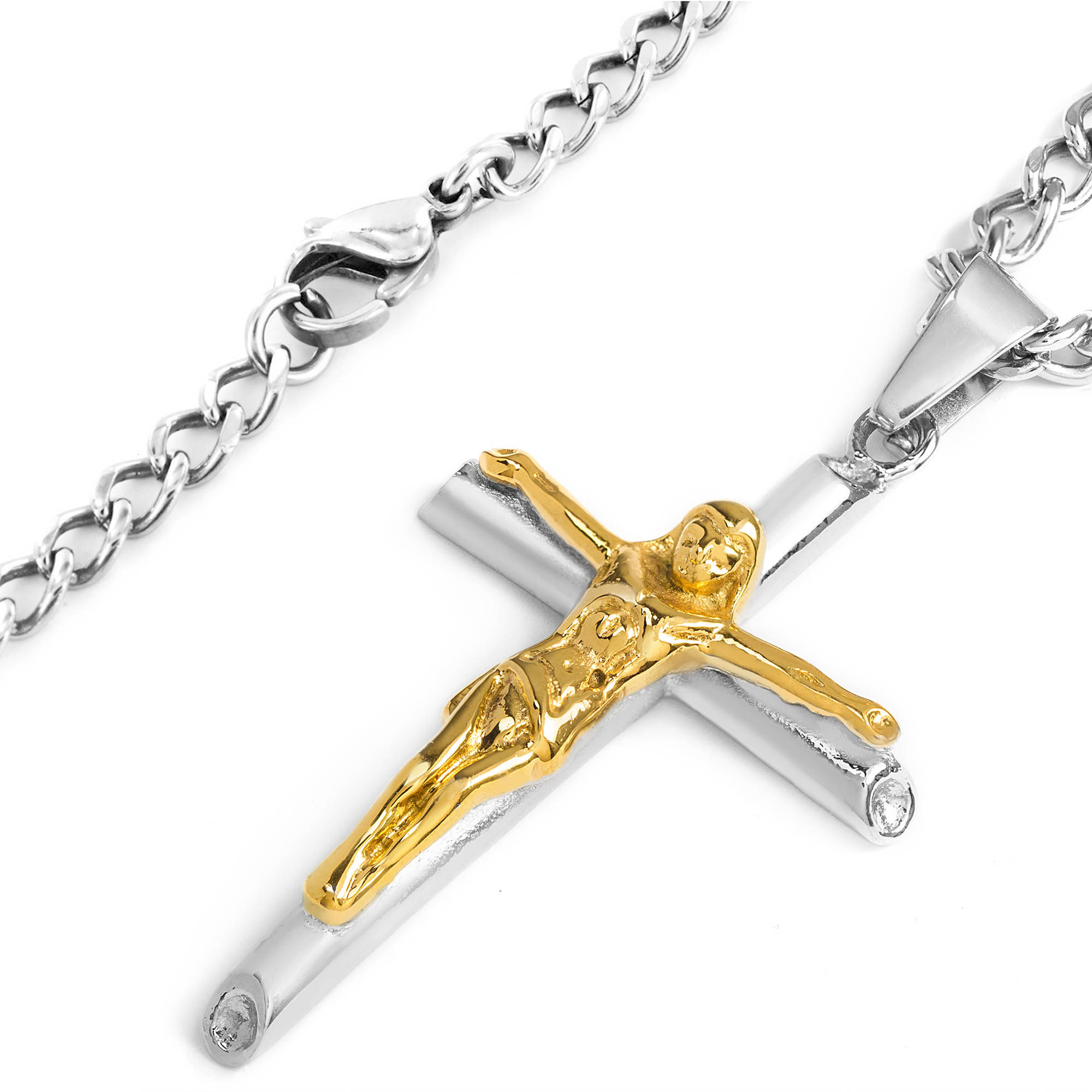 Men s Two Tone Stainless Steel Crucifix Cross Necklace Walmart