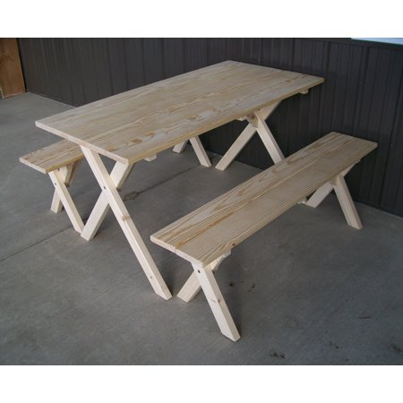 A&L Furniture Wooden Economy Picnic Table, Table Bench Set Wooden Picnic Tables Benches