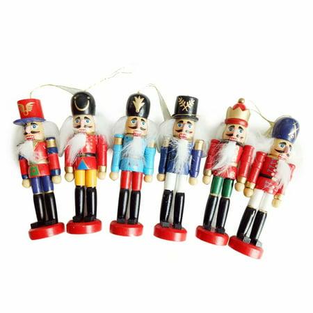 Christmas Decorations Nutcracker Wooden Soldier Puppet 12CM Tin Toy 6-piece Decorative Pendant