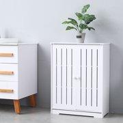 Toilet Storage Cabinet, Floor Storage Cabinet w/ Doors and Shelves, Bathroom Cabinet Organizer, Utility Kitchen Cupboard, PVC Storage Cabinet, Bookcase, Shoe Storage, White, W3962