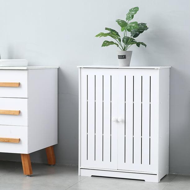 Bathroom Storage Cabinet, Floor Standing Storage Cabinet w/ Doors and Shelves, PVC Bathroom Organizers and Storage, Utility Storage Cabinet for Living Room, Bedroom, Kitchen, White, W3887