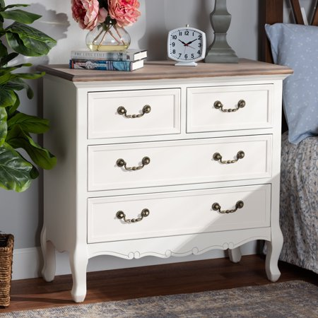 Baxton Studio Amalie Antique French Country Cottage Two-Tone White and Oak Finished 4-Drawer Accent Dresser French Accents Antiques