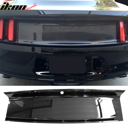 Extended Rear Panel (Fits 15-18 Mustang Rear Trunk Decklid Cover Panel - Carbon Fiber Look ABS )