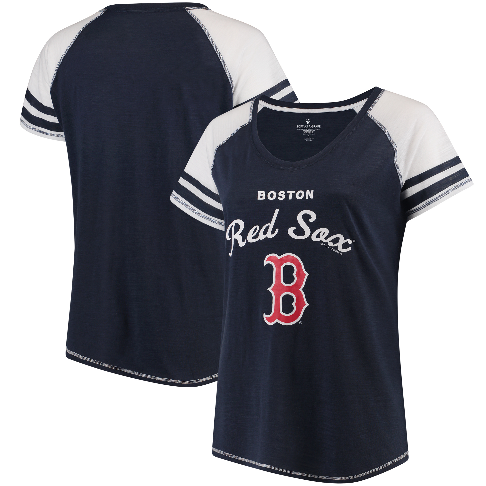 Boston Red Sox Soft as a Grape Women's Plus Sizes Three Out Color Blocked Raglan Sleeve T-Shirt - Navy