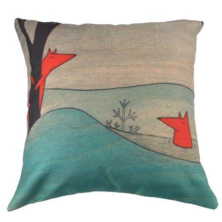Home Cotton Linen Fox Print Square Sofa Chair Seat Cushion Cover 18