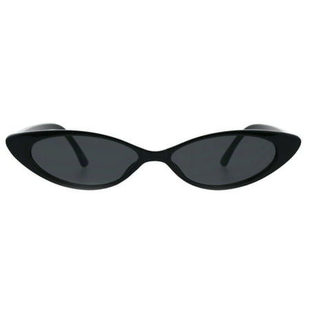 Womens Narrow Thin Cat Eye Plastic Gothic Retro Sunglasses All Black