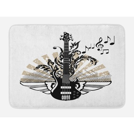 Guitar Bath Mat, Geometrical Elements Stripes Swirls Dots Lines and Musical Notes Rock and Roll, Non-Slip Plush Mat Bathroom Kitchen Laundry Room Decor, 29.5 X 17.5 Inches, Tan Black White, - Rock And Roll Room Decor