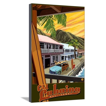 Old Lahaina Fishing Town with Surfer, Maui, Hawaii Surfing Vintage Travel Advertisement Stretched Canvas Print Wall Art By Lantern Press