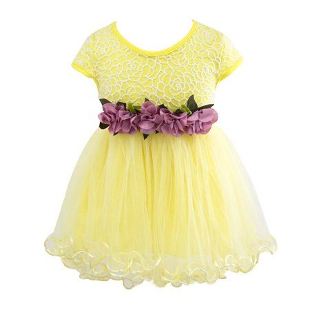 2ff4be3f7 Styles I Love - Styles I Love Infant Baby Girls Sleeveless Lace Flower  Princess Tulle Dress Party Birthday Wedding Outfit, 4 Colors (Yellow, 90/12- 18 ...