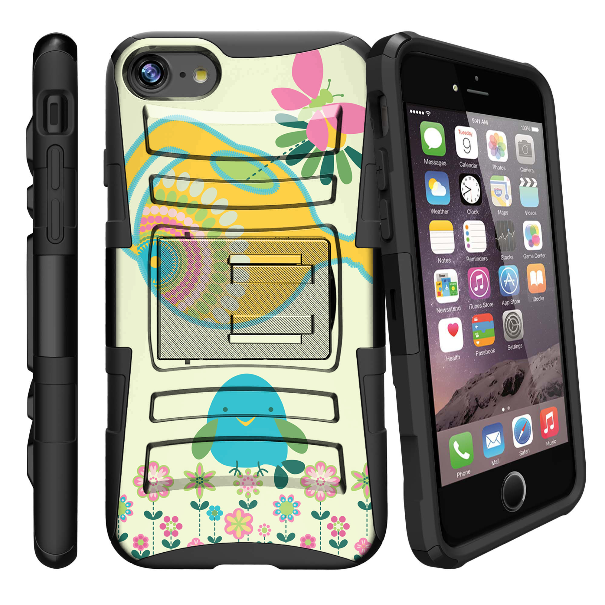 Apple iPhone 7  Case Shell [Clip Armor]- Premium Defender Case Hard Shell Silicone Interior with Kickstand and Holster by Miniturtle® - Watering Bird