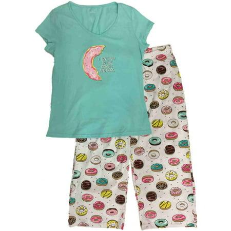 Womens I Love You To The Donuts & Back  Pajamas Baked Good Sleep Set (Back Zipper Pajamas)