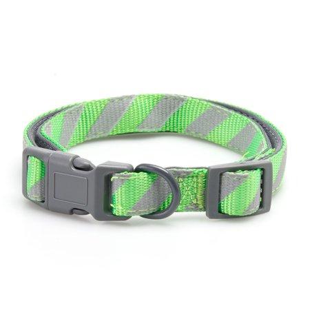Stylish Dog Collar Stripe (Vibrant Life Green/Gray Striped Comfort Padded Dog Collar, Medium, 14-20