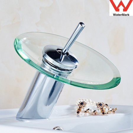 Glass Waterfall Bathroom Kitchen Sink Round Basin Faucet Gifts Single Lever Mixer Tap