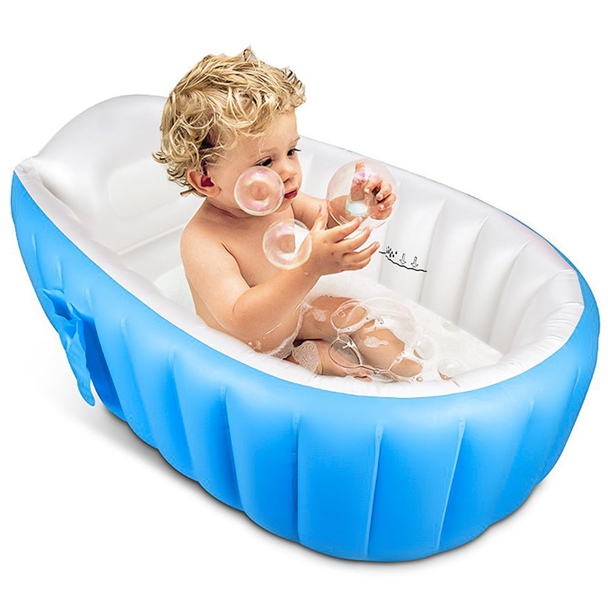 Baby Girl Bath Tub Salcon Inflatable Baby Bathtub Infant Bathtub Foldable Baby Bathtub Travel Bath Tub for Baby with Bath Toy Organizer Pink
