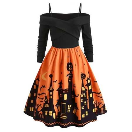Ladies Halloween Fancy Dress Plus Sizes (Women's Plus Size Halloween Swing Long Sleeve Cosplay Party Fancy)