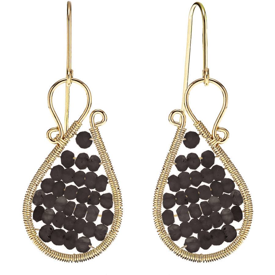 Image of 5th & Main 18kt Gold over Sterling Silver Hand-Wrapped Asymmetric Beaded Smokey Quartz Stone Earrings