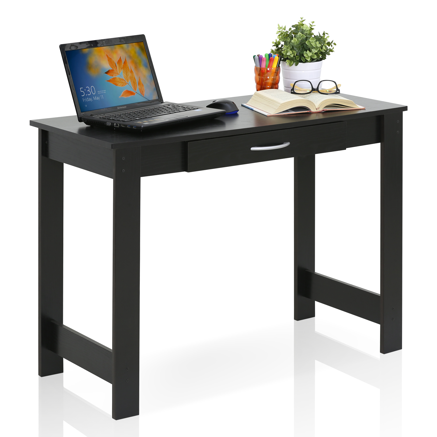 Furinno JAYA Writing Desk with Drawer, 15108BKW