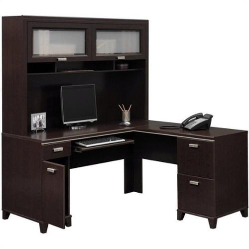 Bush Tuxedo L-Shape Wood Computer Desk Set with Hutch in Mocha Cherry