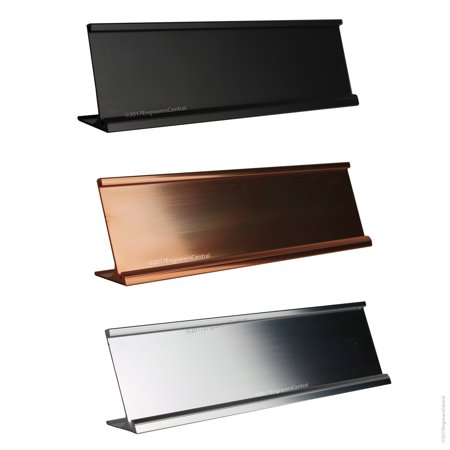 Office Desk / Tabletop - Black - Name Plate Holders - Fits Standard Size 2x8 NamePlates (Not included)