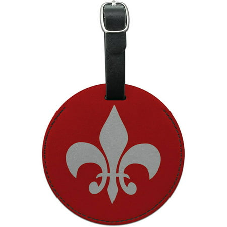 Fleur De Lis Luggage (Graphics and More Fleur de Lis Red Round Leather Luggage ID Tag Suitcase)