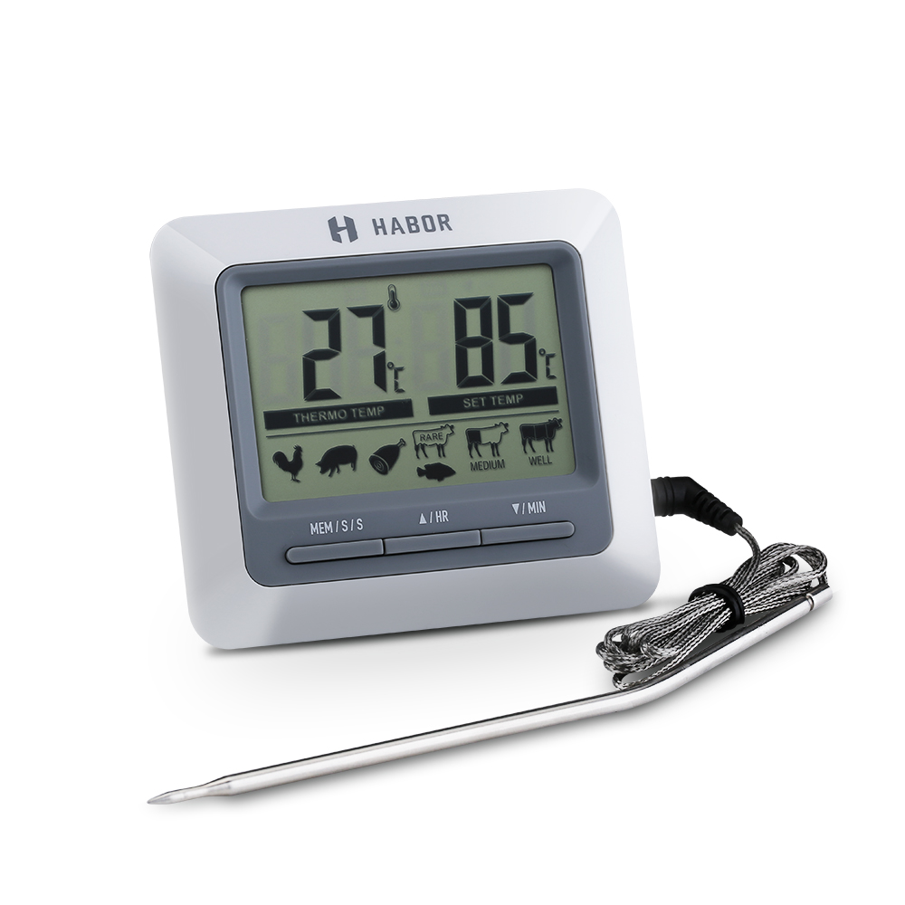 Click here to buy Habor Instant Read Digital Cooking Thermometer and Timer with Steel Probe for Meat BBQ Smoker Grill.