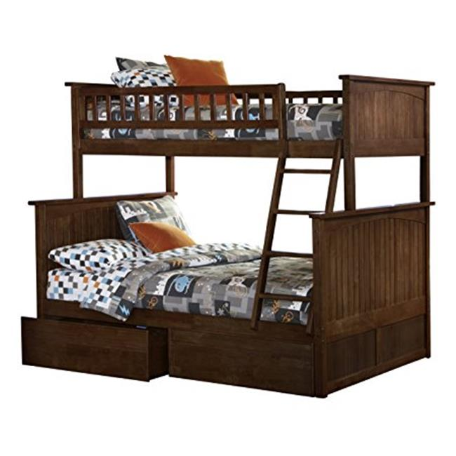 Nantucket Bunkbed with Urban Bed Drawers - Antique Walnut, Twin Over Full Size
