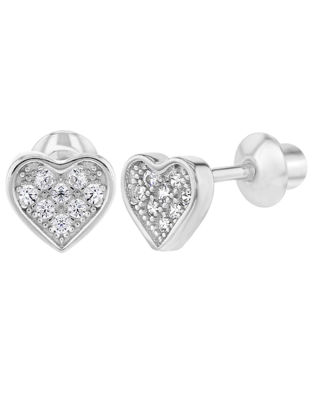 925 Sterling Silver Clear CZ Pave Heart Screw Back Earrings for Girls