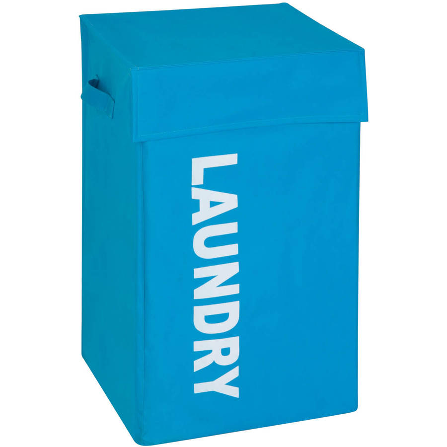 Honey Can Do Folding Graphic Laundry Hamper with Lid, Multicolor