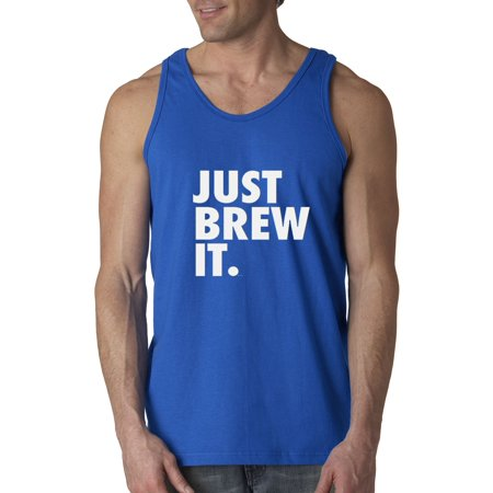 New Way 694 - Men's Tank-Top Just Brew It Nike Parody Coffee