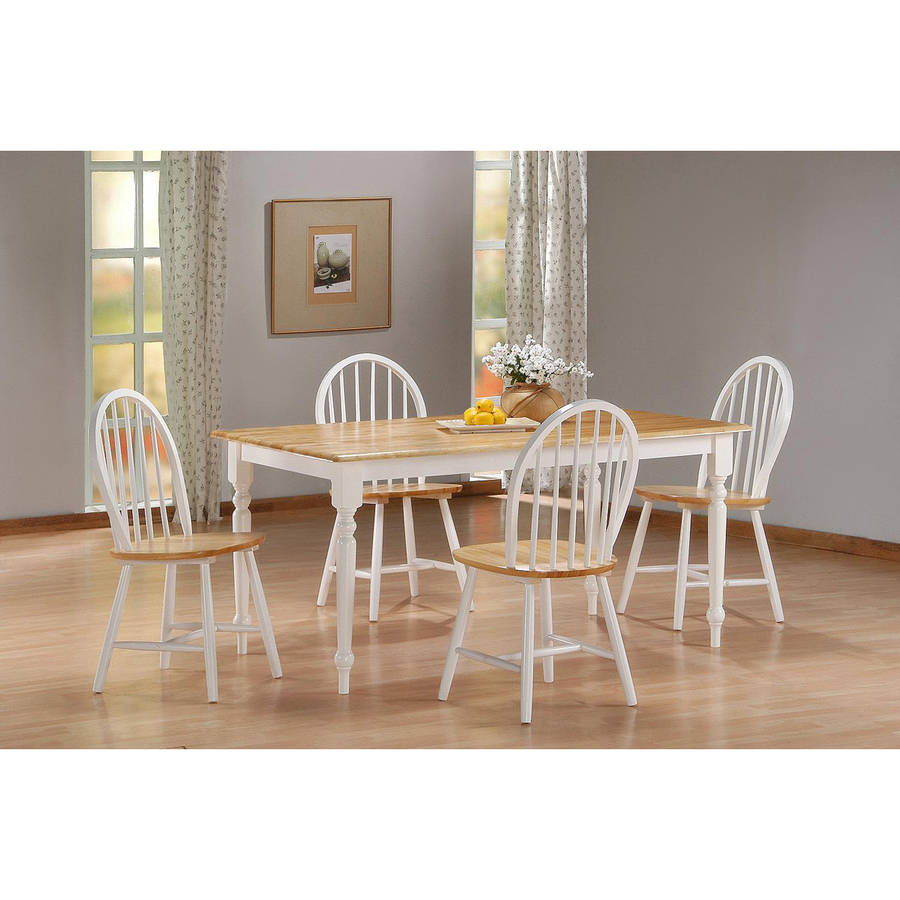 Boraam 5PC Farmhouse Dining Room Set, White Natural by Boraam Industries
