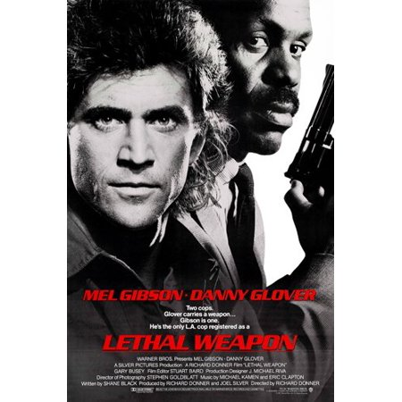 Lethal Weapon Movie Poster Gibson & Glover Adventure Action Cops Guns