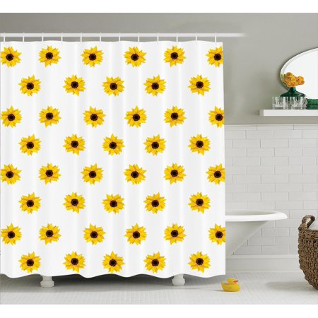Sunflower Decor Shower Curtain Set, Sunflower Pattern On A White Background Vibrant Nature Elements Simple Seasonal Artprint, Bathroom Accessories, 69W X 70L Inches, By Ambesonne ()