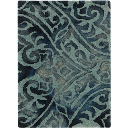 Belladonna Two Light - Contemporary Belladonna Collection Area Rug in Teal and Oval, Rectangle, Round, Runner Shape