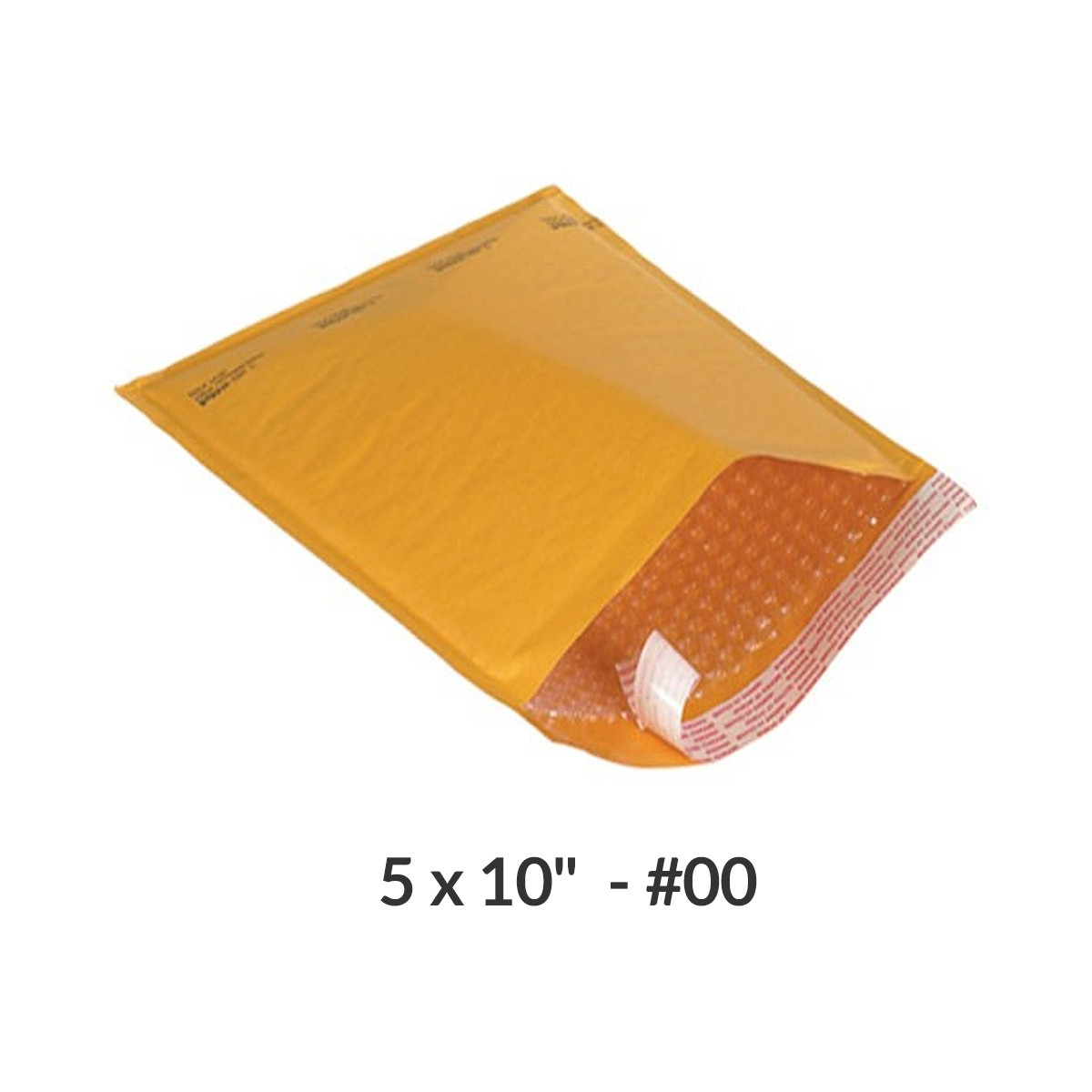 """100 Kraft Bubble Mailers 5x10"""" #00 Self-Sealing Padded Envelopes Bags by Uboxes"""