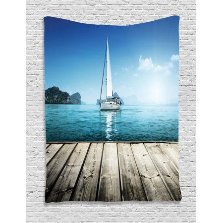 Nautical Tapestry, Yacht from Wooden Deck Horizon Serenity Seascape Leisure Aquatic Coastal Theme, Wall Hanging for Bedroom Living Room Dorm Decor, Blue Brown, by