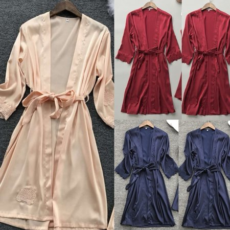 Women Sexy Long Silk Kimono Dressing Gown Bath Robe Babydoll Lingerie Nightdress - Robe Dressing Gown