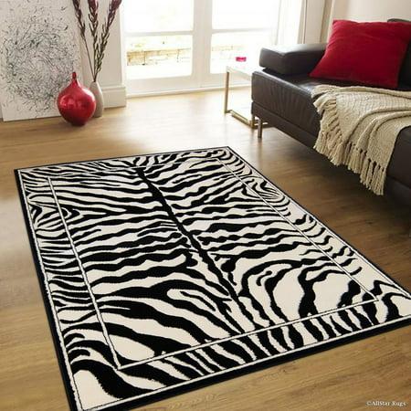 Allstar Zebra Stripe Pattern Woven High Quality Rug, Raw Natural Animal Skin Design Area Rug, Zebra Skin (7