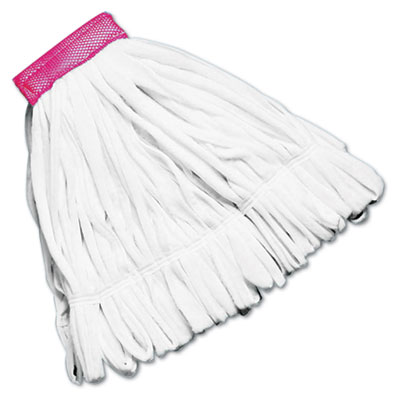 Rough Floor Wet Mop Head, Large, Cotton/Synthetic, White, 12/Carton T256