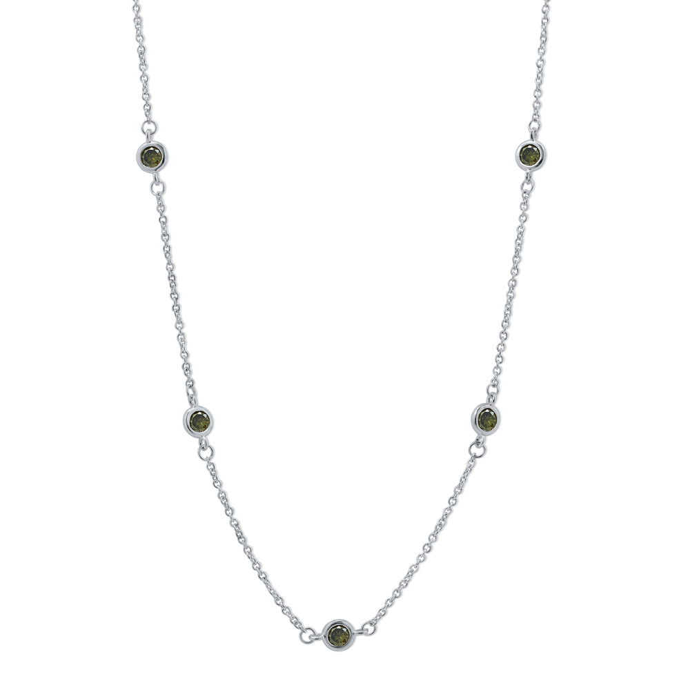"""BERRICLE Rhodium Plated Sterling Silver Cubic Zirconia CZ by the Yard Station Necklace 24"""""""