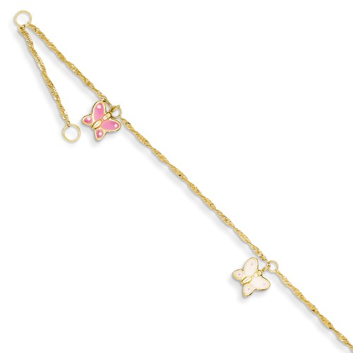 14k Yellow Gold 10in Adjustable Enameled Butterfly Anklet